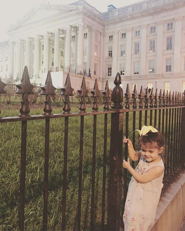 Baby fence jumper!!!! Luckily the secret service let her slide on account of her cuteness. #washingtondcbaby #treasury #showmethemoney #heyjetsetbaby