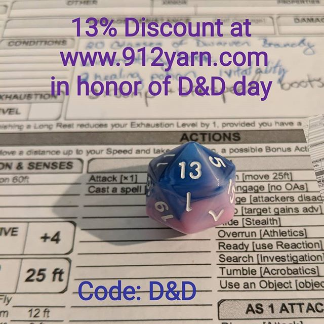 Enjoy a 13% discount in the shop by entering D&D in the check out. #discount #indiedyedyarn #D&D