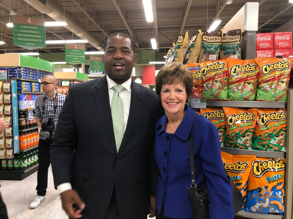 Two of the city's candidates running for mayor – Atlanta City Council President Ceasar Mitchell and City Councilwoman Mary Norwood at the opening of the new Publix Grocery Store on the city's northwest side (Photo by Maria Saporta)