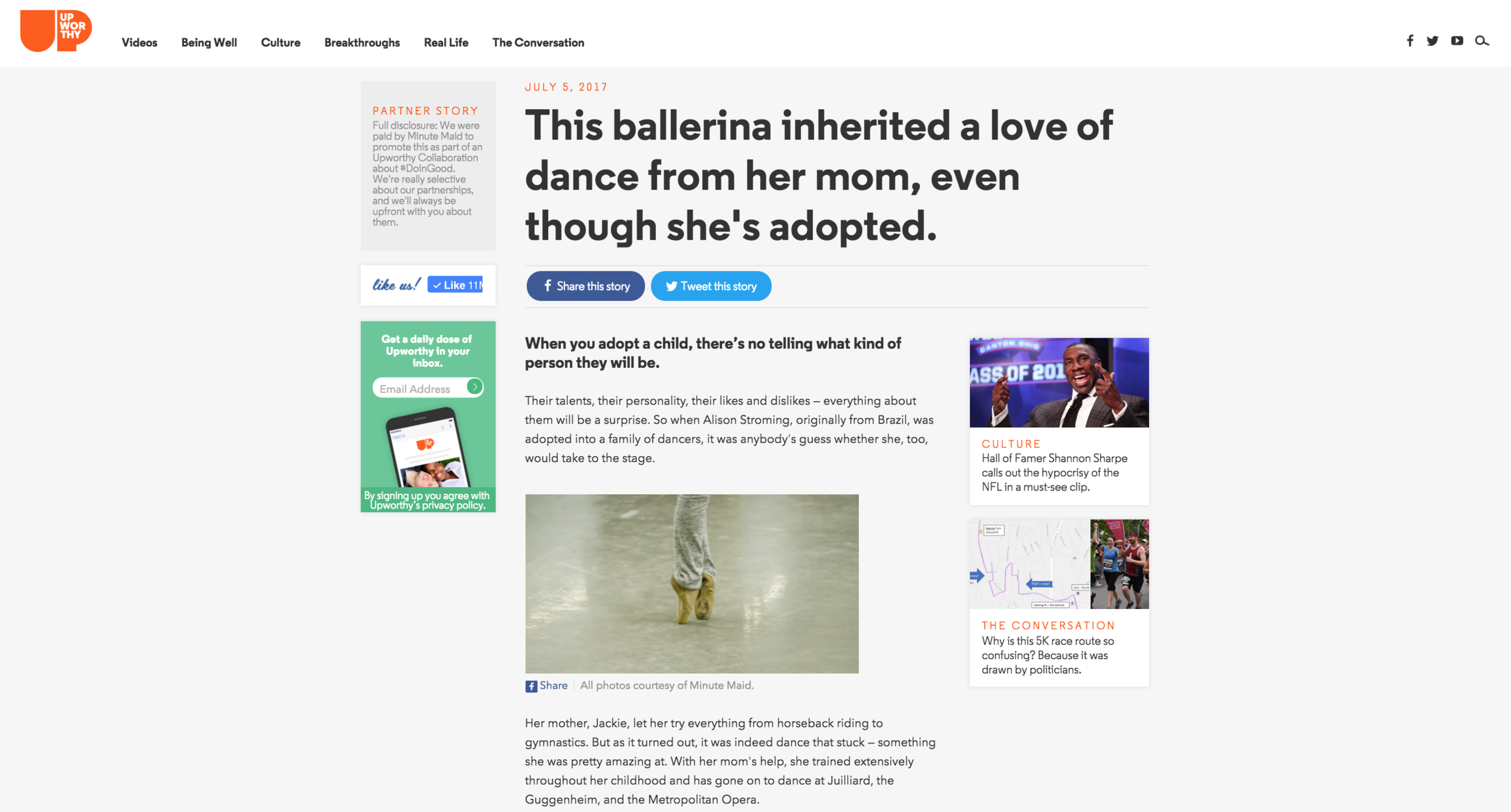 The Upworthy campaigns featured in-depth advertorial articles and enhanced digital content.
