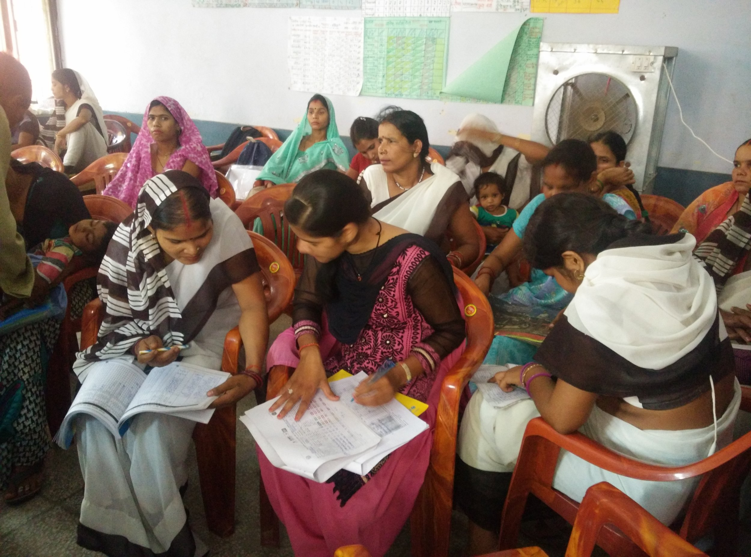 Every month, the ASHAs meet to get help filling their registers (this data feeds the national data systems to help build stats and indicators) and to get their payment vouchers