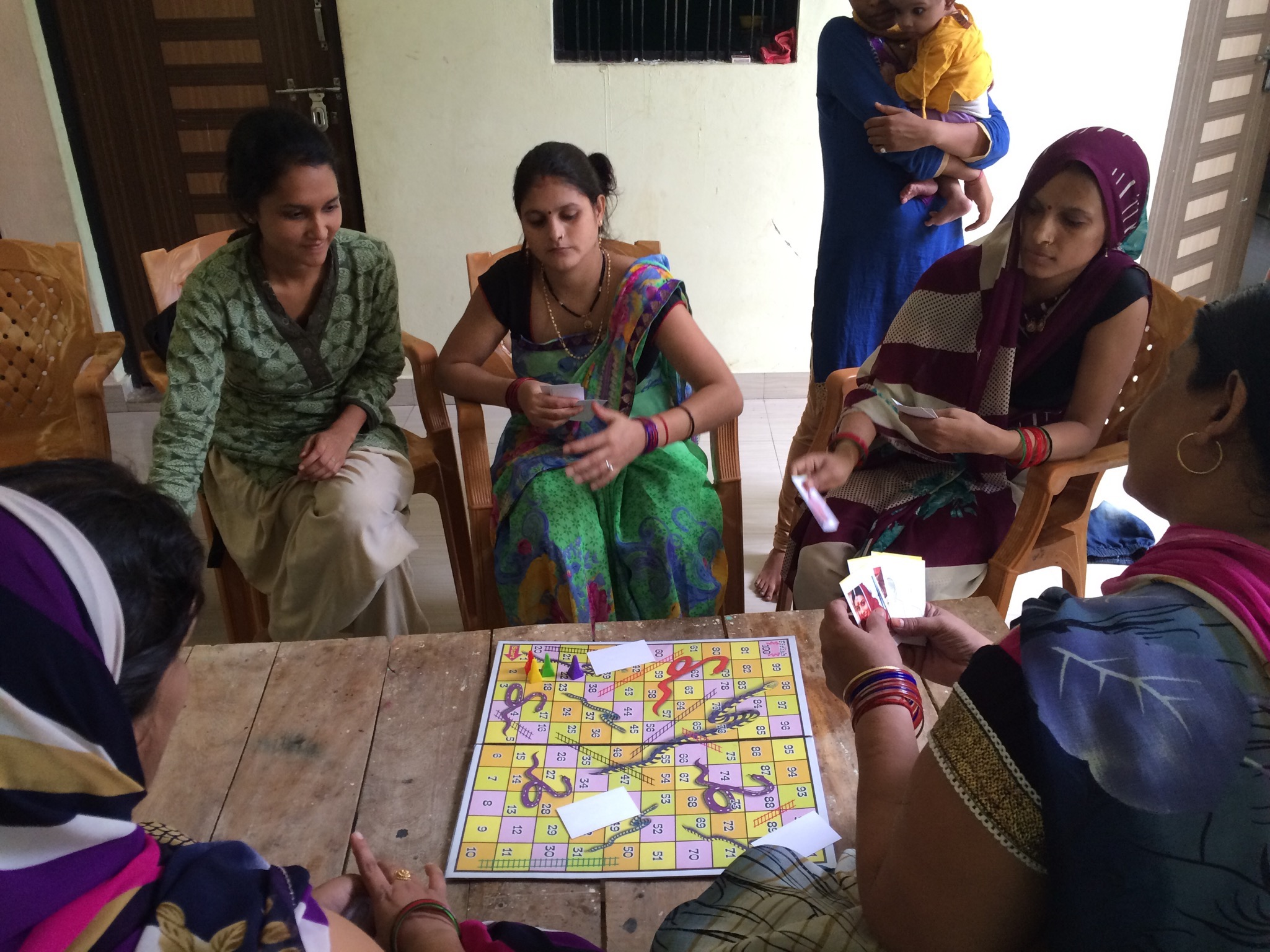 ROUND 1 : Check to see if the ladies are comfortable with dice and counters using a simple and traditional game of snakes & ladders