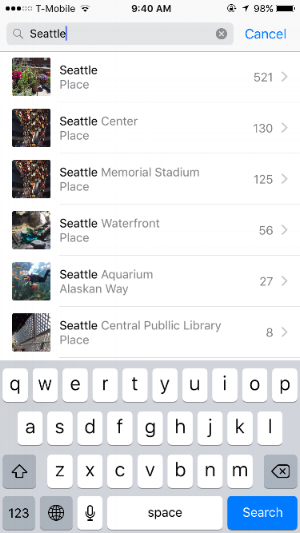 New search feature in Photos.