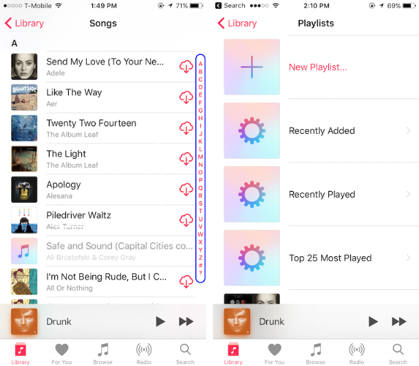 Left: Alphabetical index in songs list; Right: No index = more work for the user