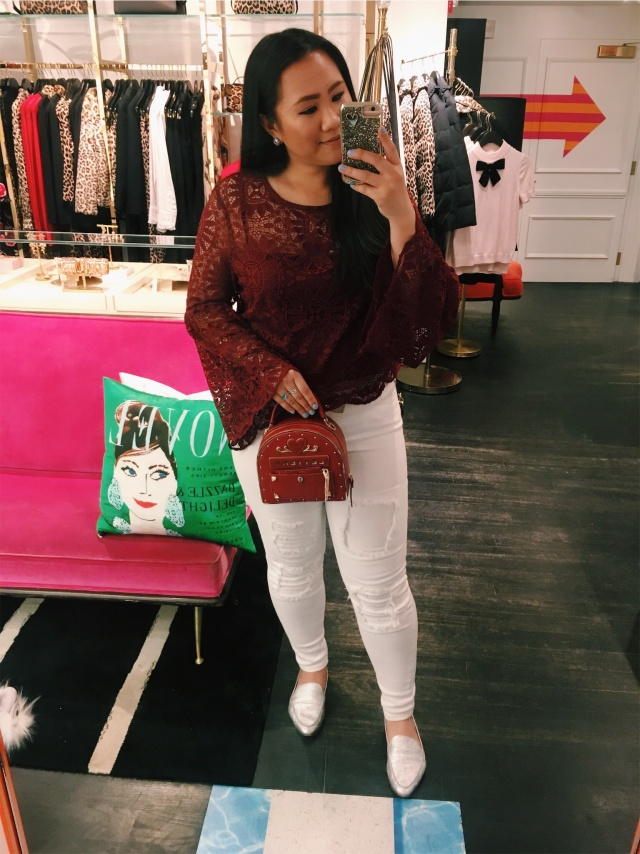 A look for less - Secrets out, I got this top at TARGET! It is not available anymore- but I did link more lace tops down below from Target.Shoes/Bag- Kate Spade Carima loafers in silverNails-