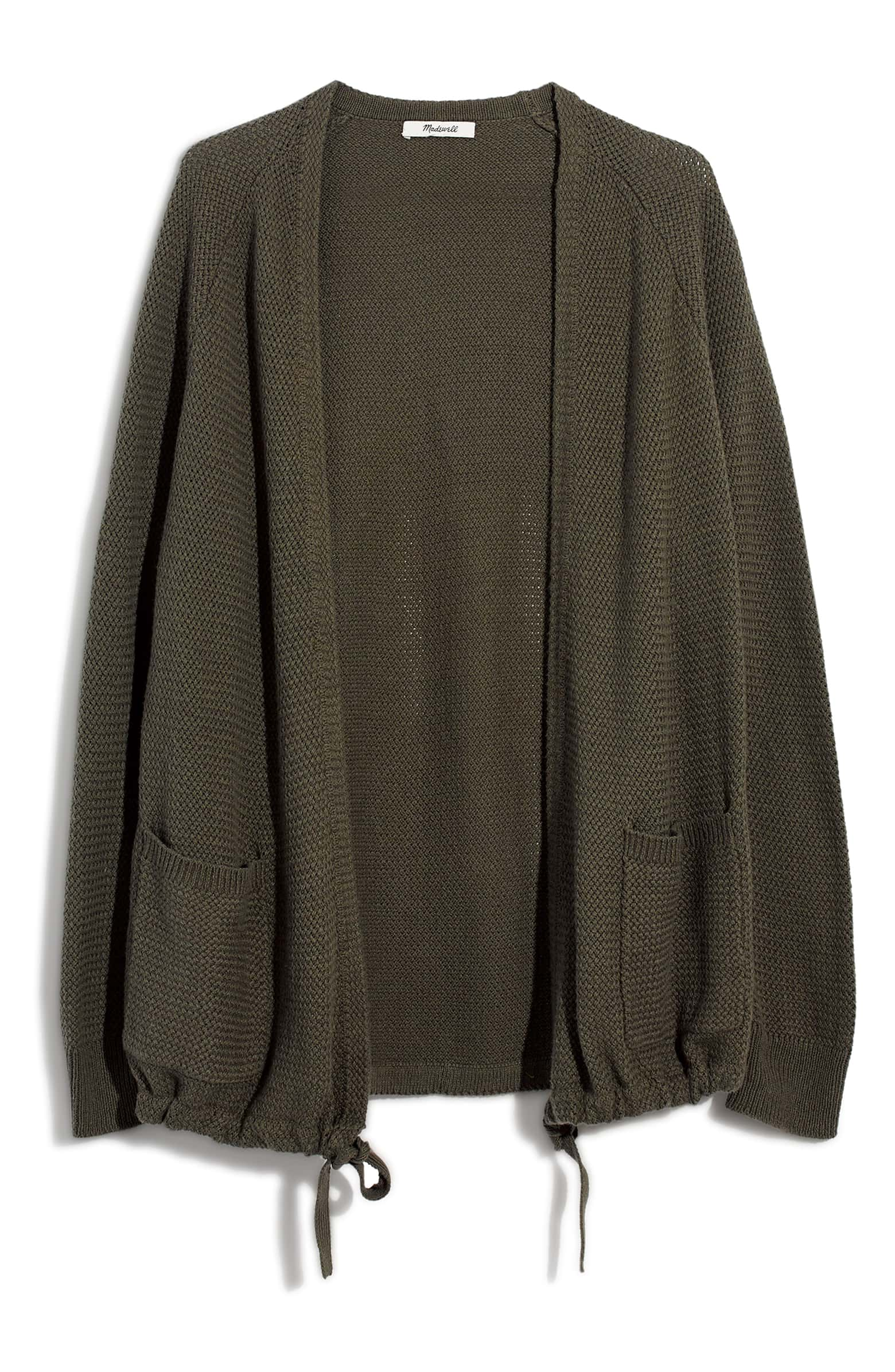 Olive colored Madewell cardigan