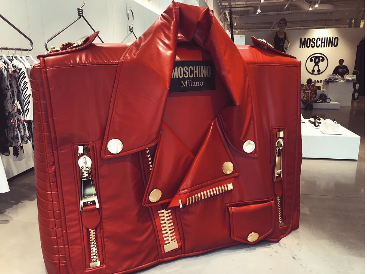 The ICONIC biker bag in the fabulous Moschino Soho store!  Linked down below are some of the bags.