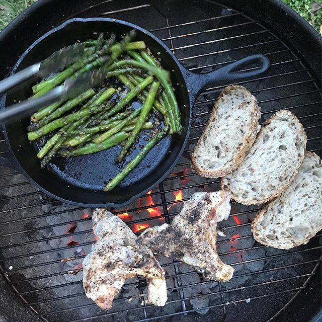It's an all @chfarmersmarket dinner tonight with @localsseafood grouper collars, @loafdurham multigrain bread, and #heartandhandsfarm asparagus. Not pictured- #splitacrefarm salad