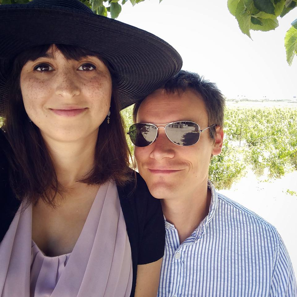With my husband (and a very large hat) in Sonoma, 2016.