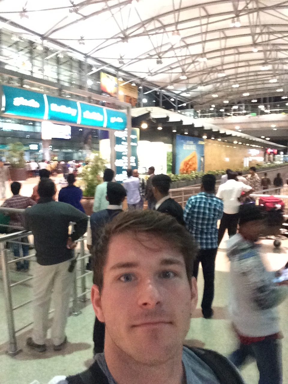 - You'll have to excuse the potato quality photo. This photo was taken at 4am in the Hyderabad airport as I was looking for the showers and the location to get my boarding passes.