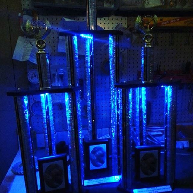 Throwback to some custom light up trophies we created. Such a fun little job for a nighttime car show and shine. #akasatrophy #allabouttrophies #newmexico #newmexicotrue #albuquerque #dukecity #505 #trophy #award #glow #lights #lightup #carshow #showandshine #engrave #sublimation #imagination #create #custom #nightlights