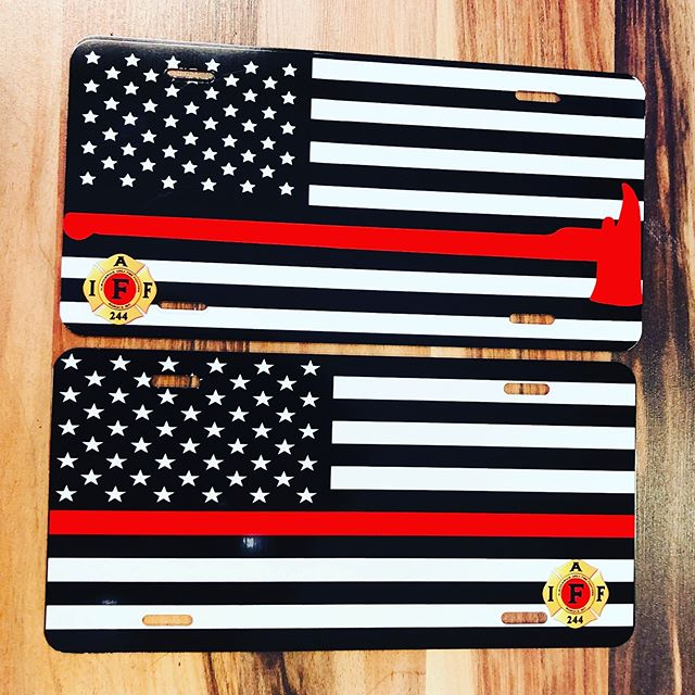 Thin Red Line license plates for our local firefighters union. #allabouttrophies #newmexico #smallbusiness #supportsmallbusiness  #iaff #thinredline #firefighters #licenseplate #engraving #sublimation #laser #custom #create #fullcolor #awards #gifts #trophies #myday #whatido #ilovemyjob