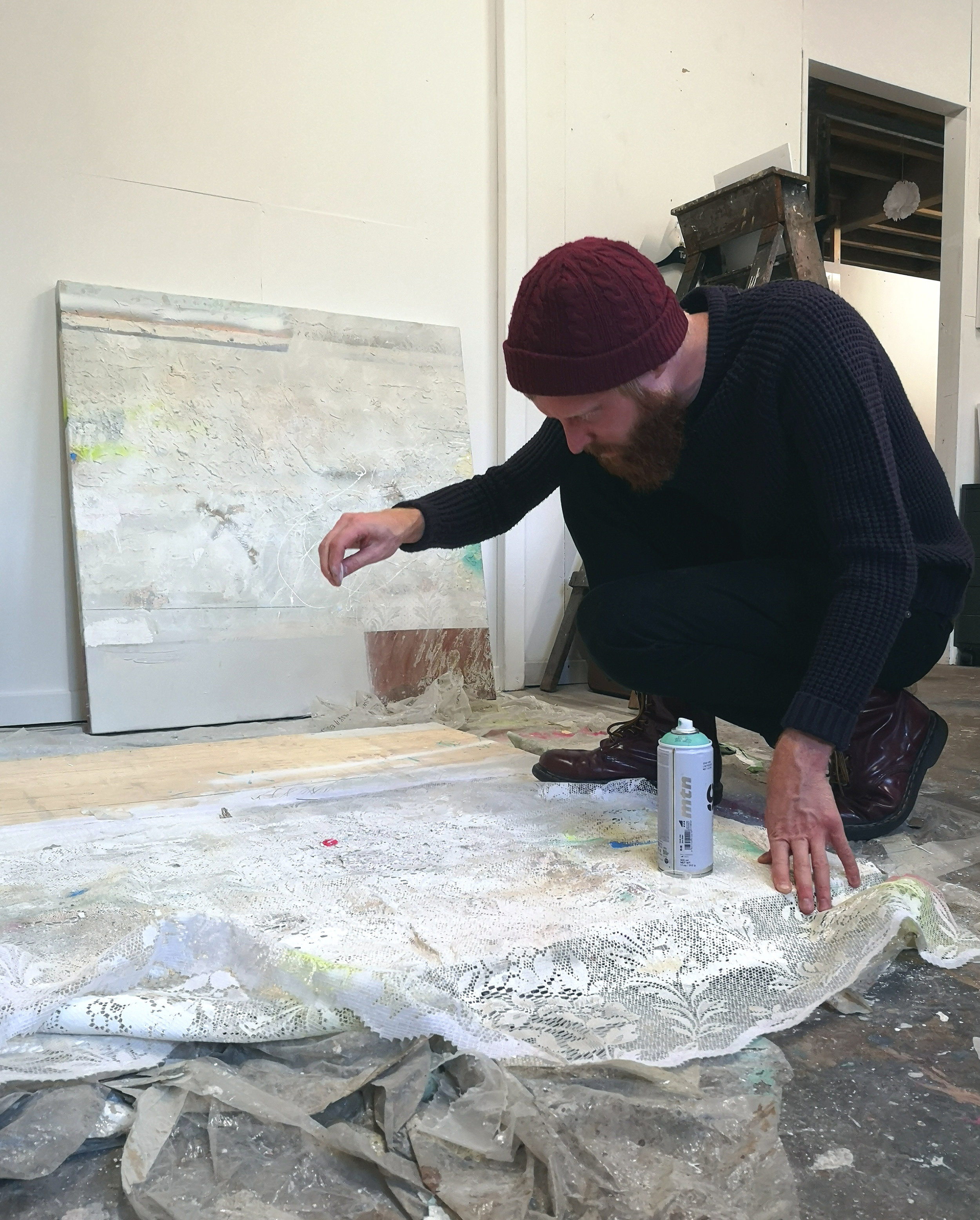 Studio 17    Andrew Wild  Andrew works primarily in the field of Painting, producing semi-abstract works that explore the intrinsic material properties of both traditional and non-traditional media. The works he produces are often quiet and reflective, evocative of the weathered and history-worn walls and surfaces of the Calder Valley.