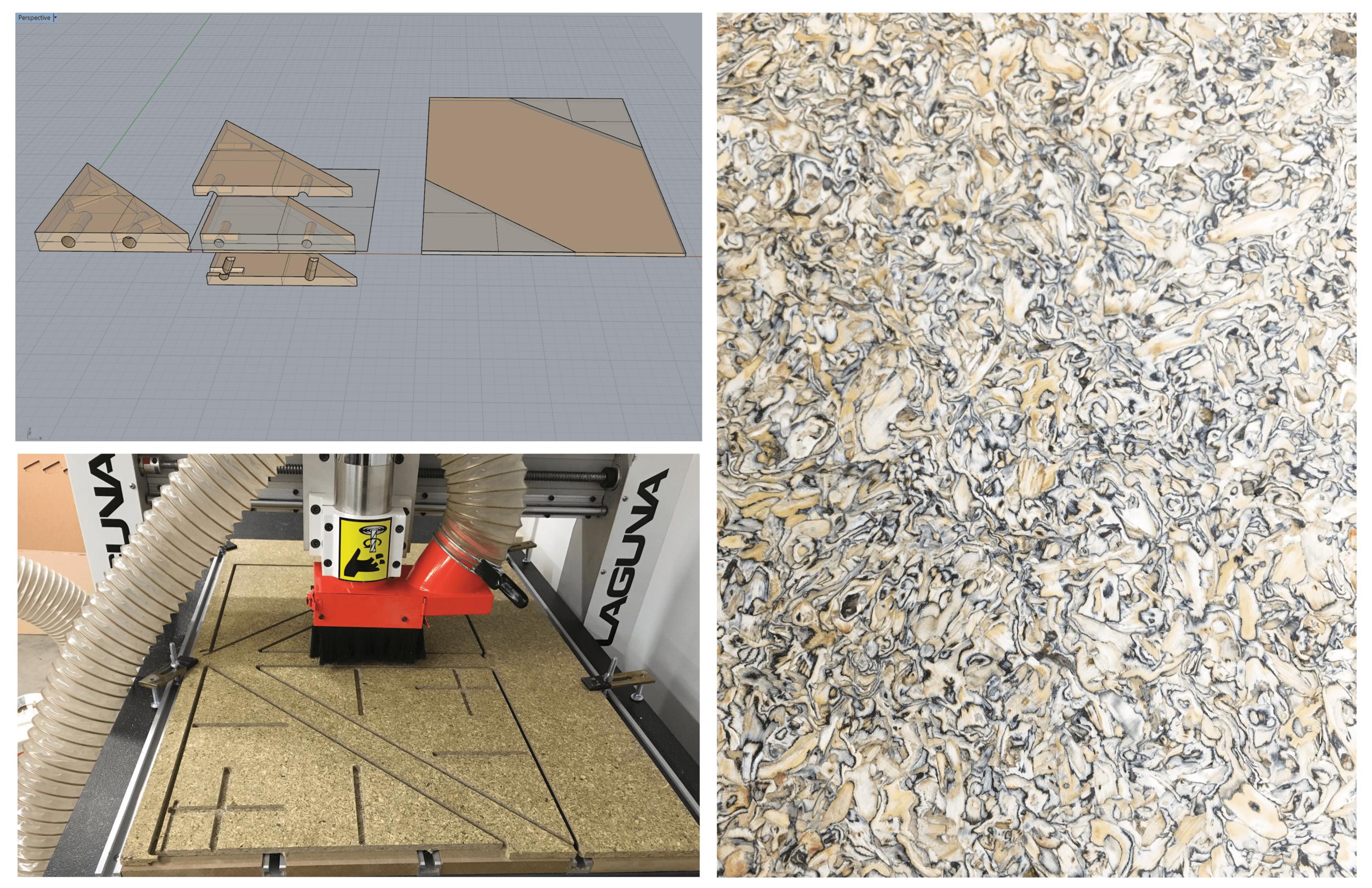 PROCESS - sketching | Rhino modeling | CNC routing | laser