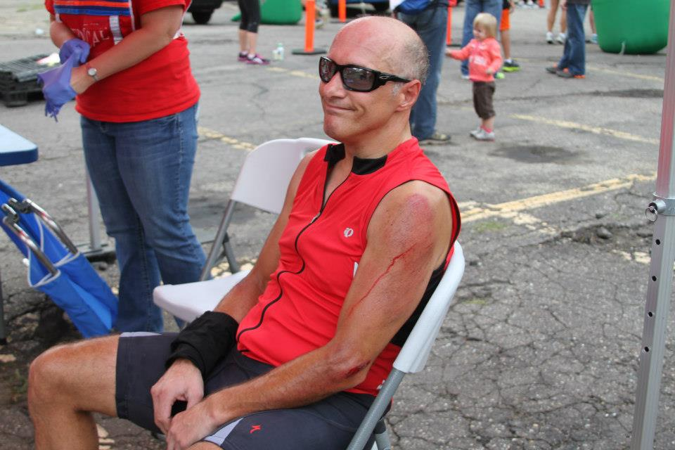 """""""I was on pace for the best ride of my life with 1.5 miles left.""""The moment of honesty: my husband crashed his bike during a race and realized he wasn't going to be riding his bike for awhile."""