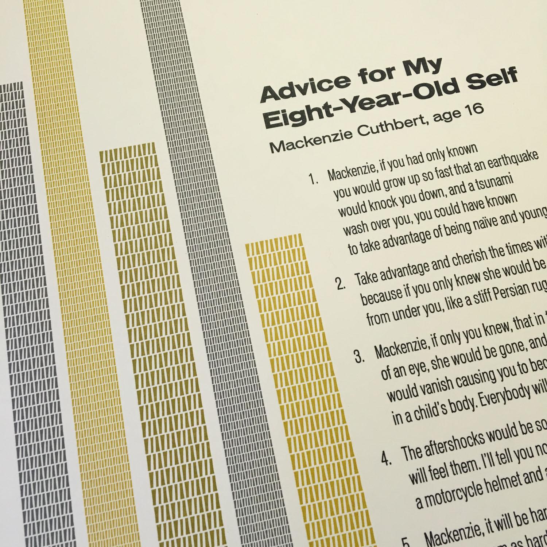 Close up of letterpress poetry broadside