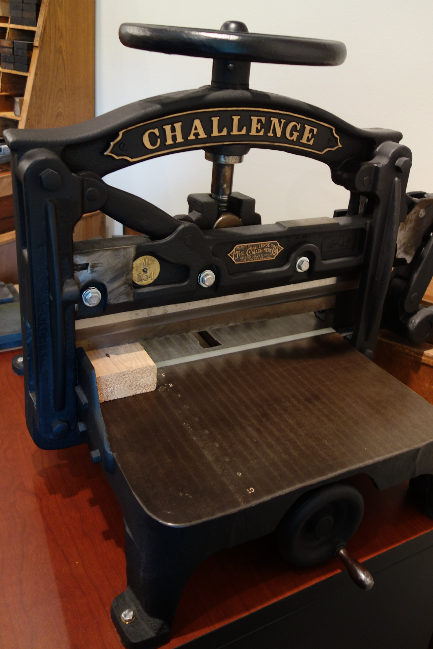 Challenge guillotine paper cutter from 1903.