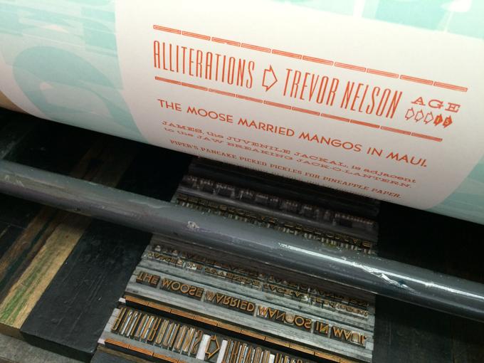 Printing the poem on a printing press