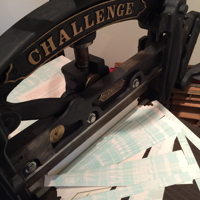 Trimming broadside with a vintage paper cutter