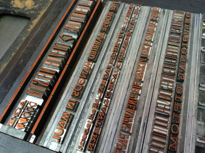 Letterpress metal type with ink