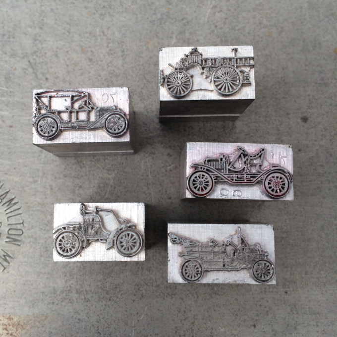 Letterpress type car ornaments
