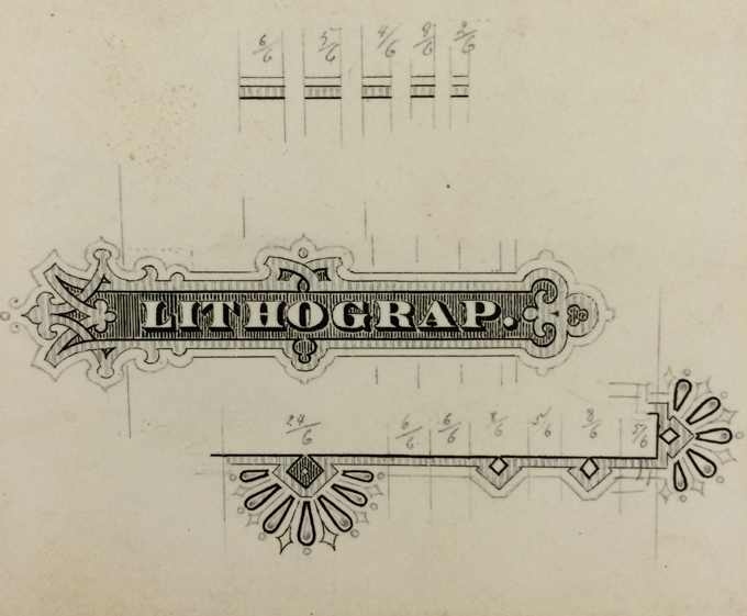 Drawing of streamer typeface design by Herman Ihlenburg from Cary Collection
