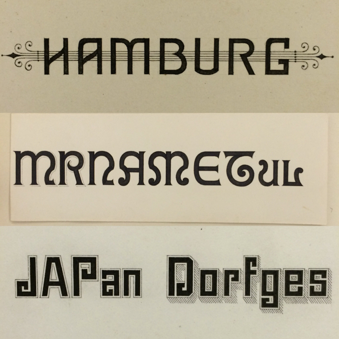 Typeface design drawings by Herman Ihlenburg from Cary Collection