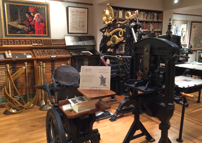 The printing press room for the Cary Graphic Arts Collection at the Rochester Institute of Technology