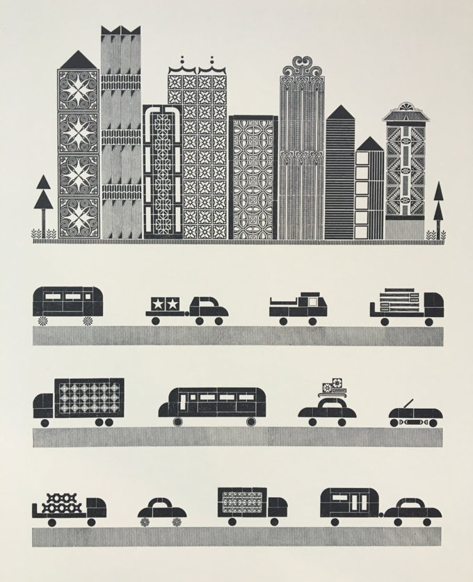 Letterpress print of a city and traffic made from handset type.