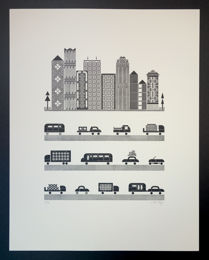 Letterpress print with city and traffic