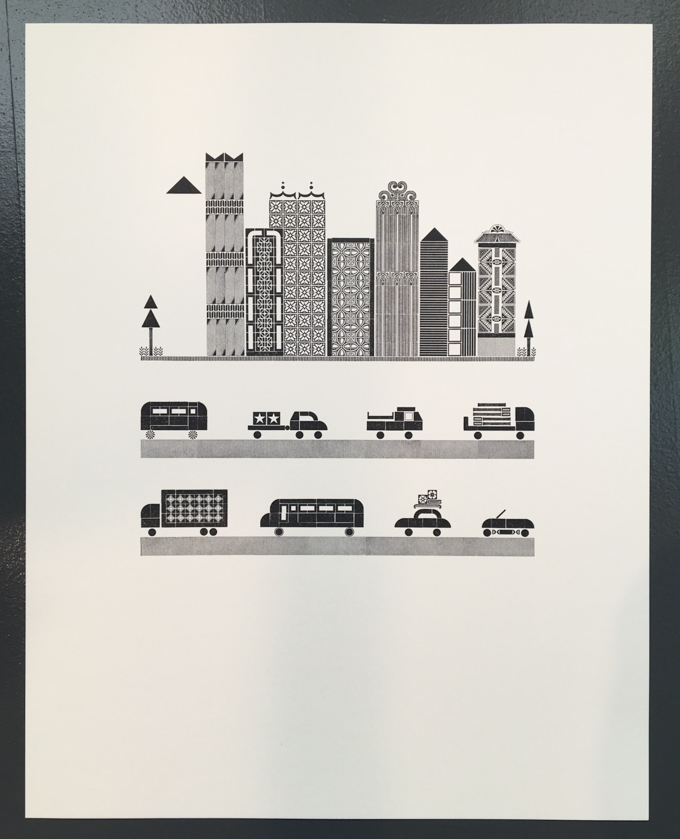 Work in progress: Letterpress print of some of city and two rows of traffic