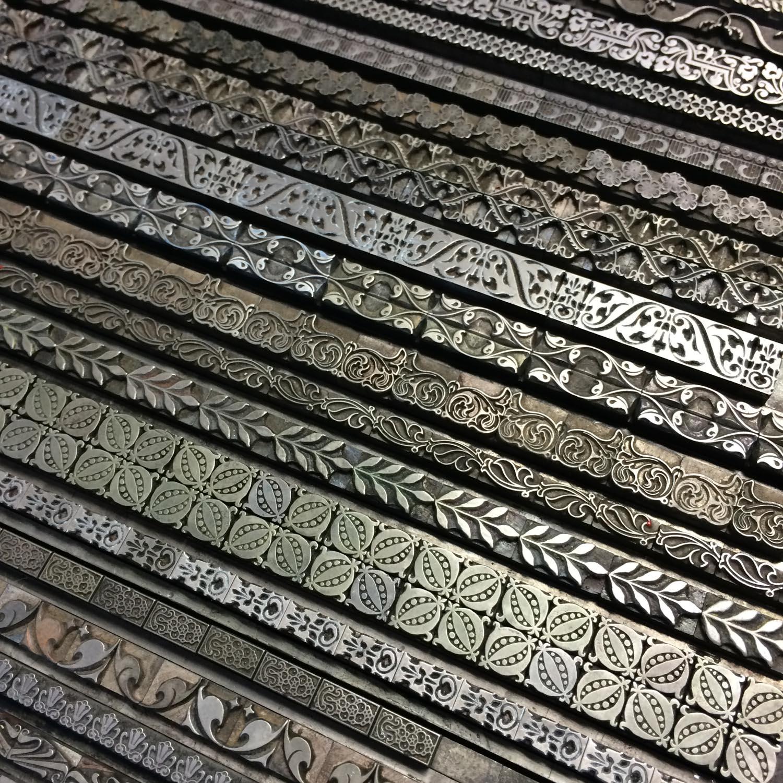 Metal type borders for letterpress printing