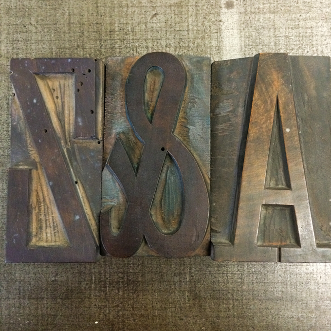 Wood type at London Centre for Book Arts