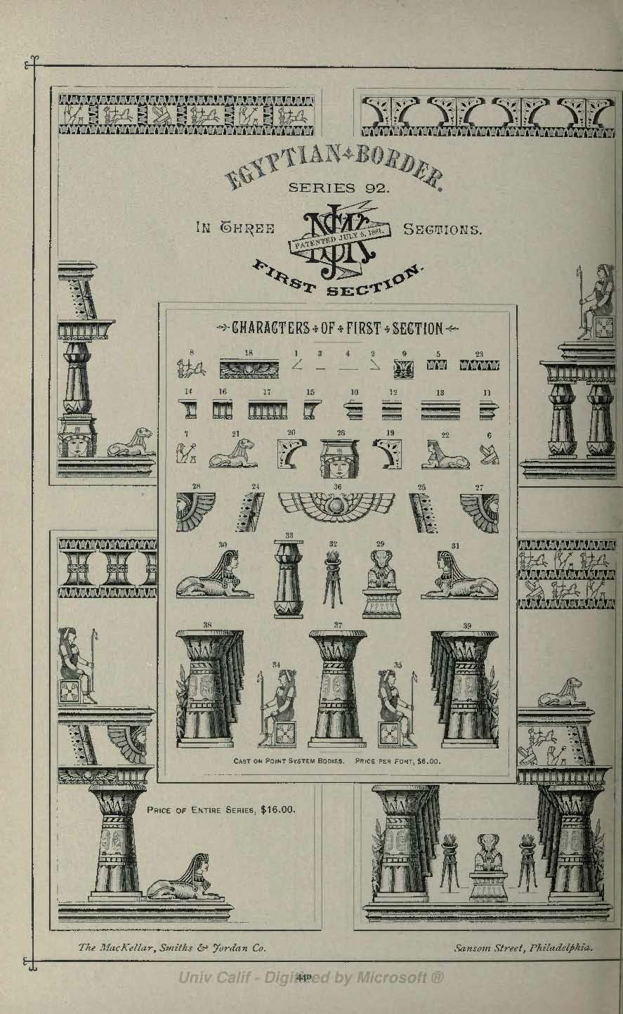 Egyptian Border First Section from MacKellar Smiths and Jordan 1892 type catalog