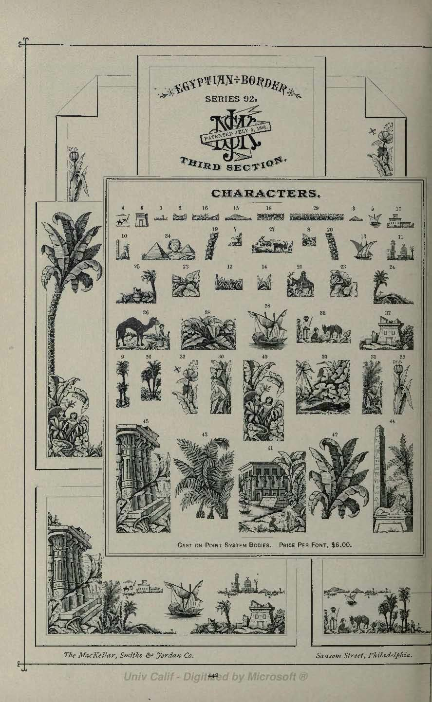Egyptian Border Third Section from MacKellar Smiths and Jordan 1892 type catalog