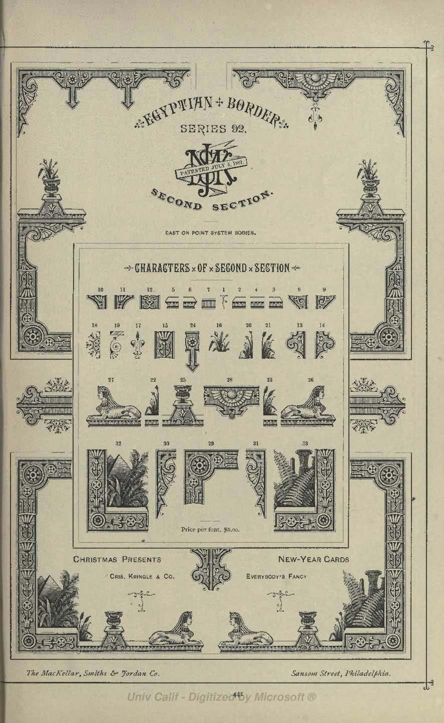 Egyptian Border Second Section from MacKellar Smiths and Jordan 1892 type catalog