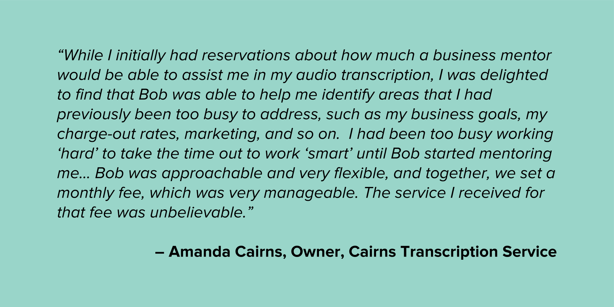 Amanda Cairns Micro Business Testimonial Quote