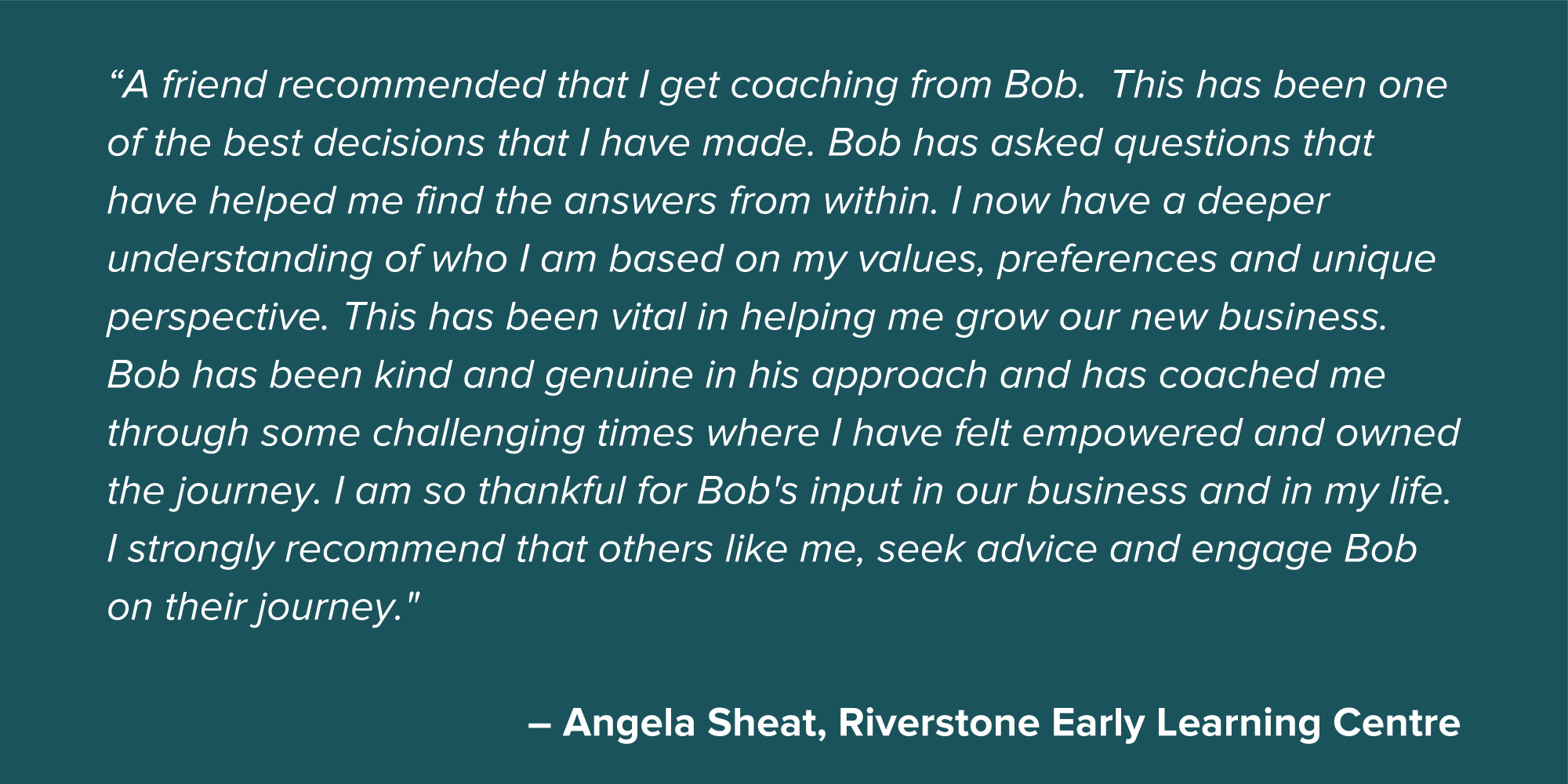 Angela Sheat Small Business Testimonial Quote
