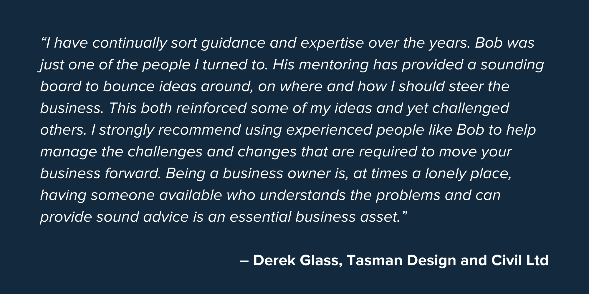 Derek Glass SME Business Testimonial Quote