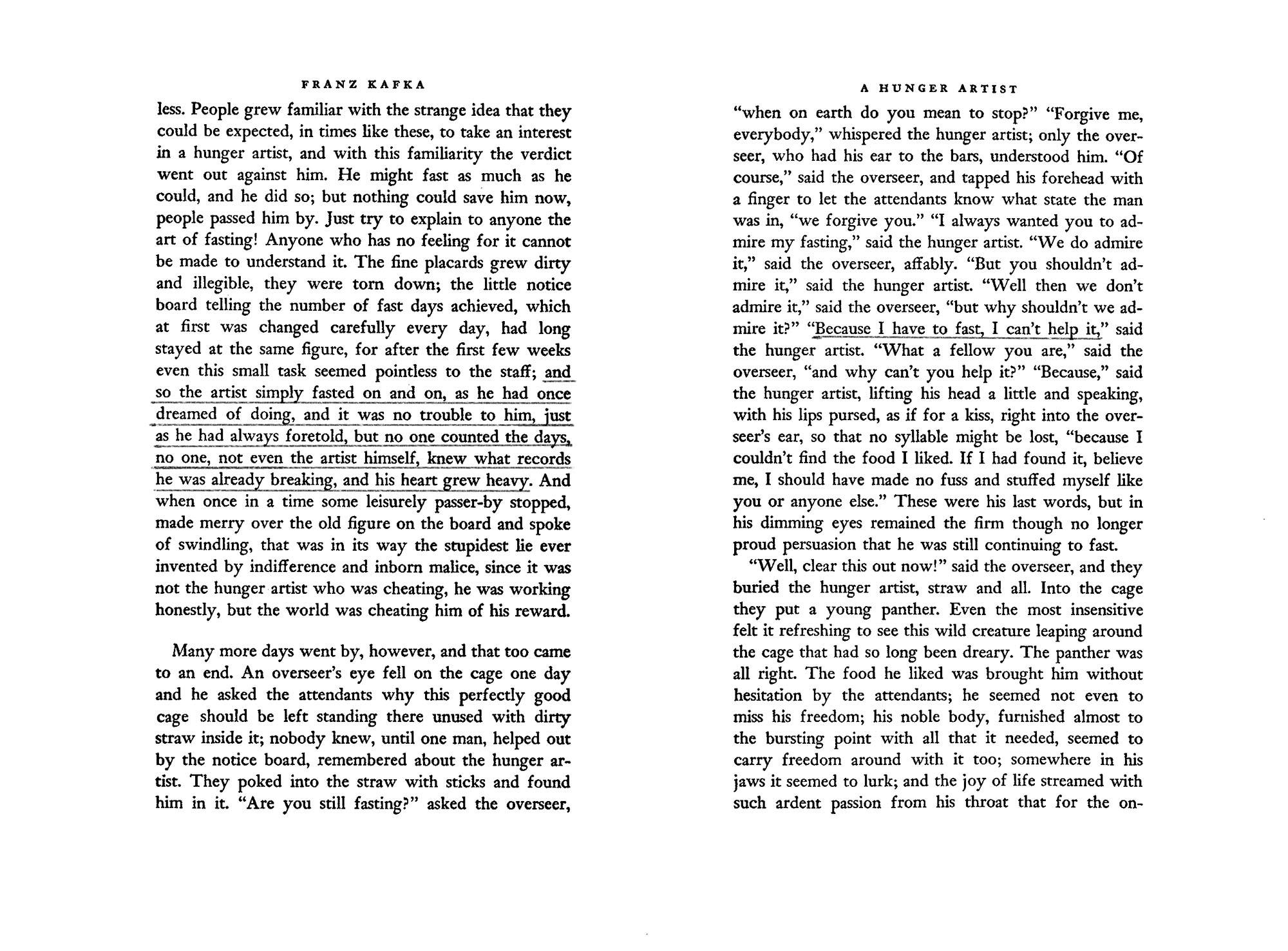 Excerpt of ' A Hunger Artist'  by Franz Kafka