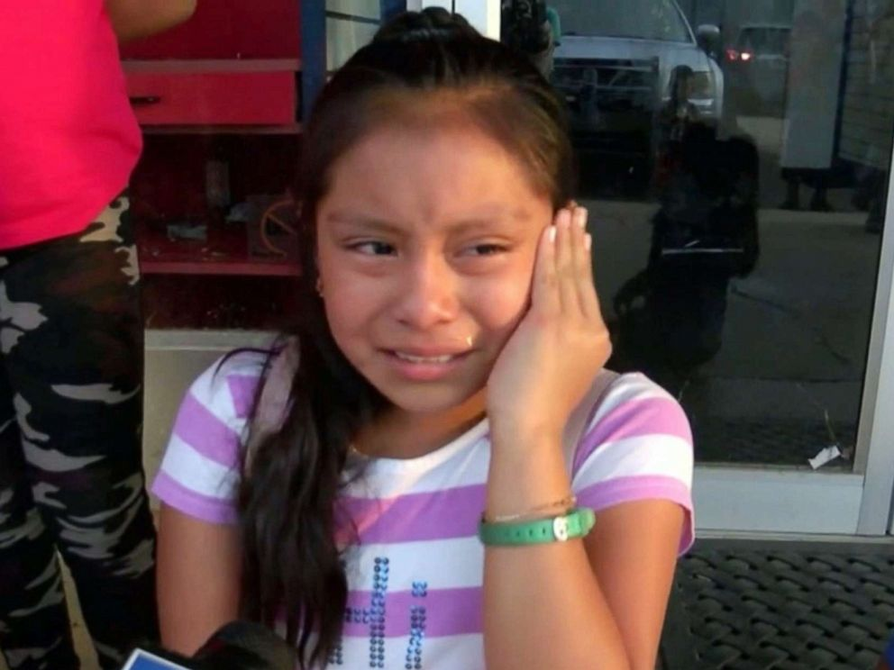 Magdalena Gomez Gregorio, 11, cries while talking to reporters about her father, who was arrested by ICE agents during a raid in Mississippi on Aug. 7, 2019. Courtesy of ABC News.