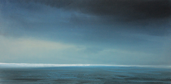 "Blue Waters (Pastel on paper, 10"" x 24"")"