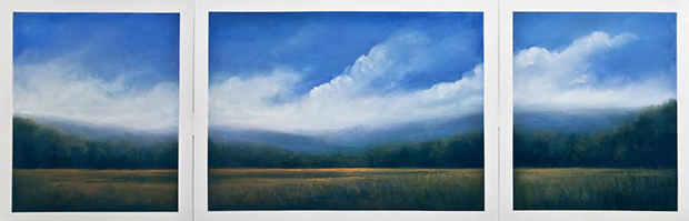 "Country Morning (Pastel on paper, 30"" x 100"")"