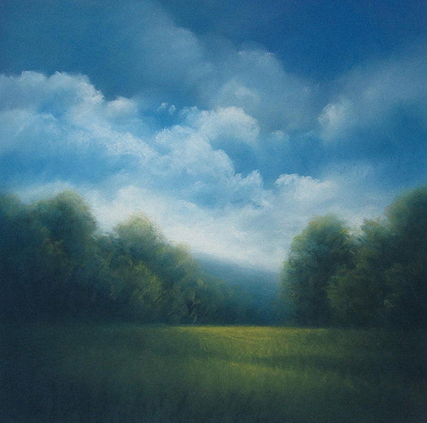 "Morning Fields (Pastel on paper, 26"" by 26"")"