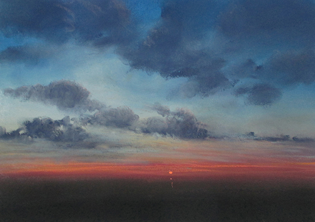 "Last Light (Pastel on paper, 10"" x 14"")"