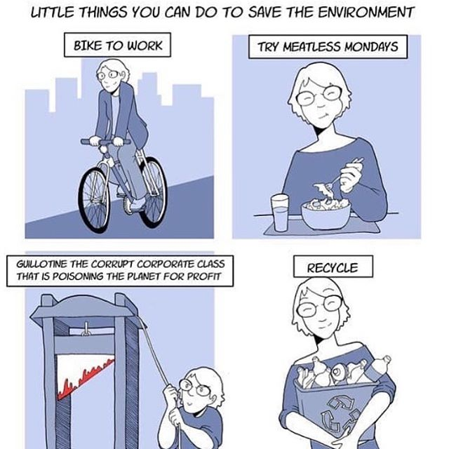 Also, post dank memes. #environment #recycle #vegan #bike #bicycle #guillotine #memes #memesdaily #meme