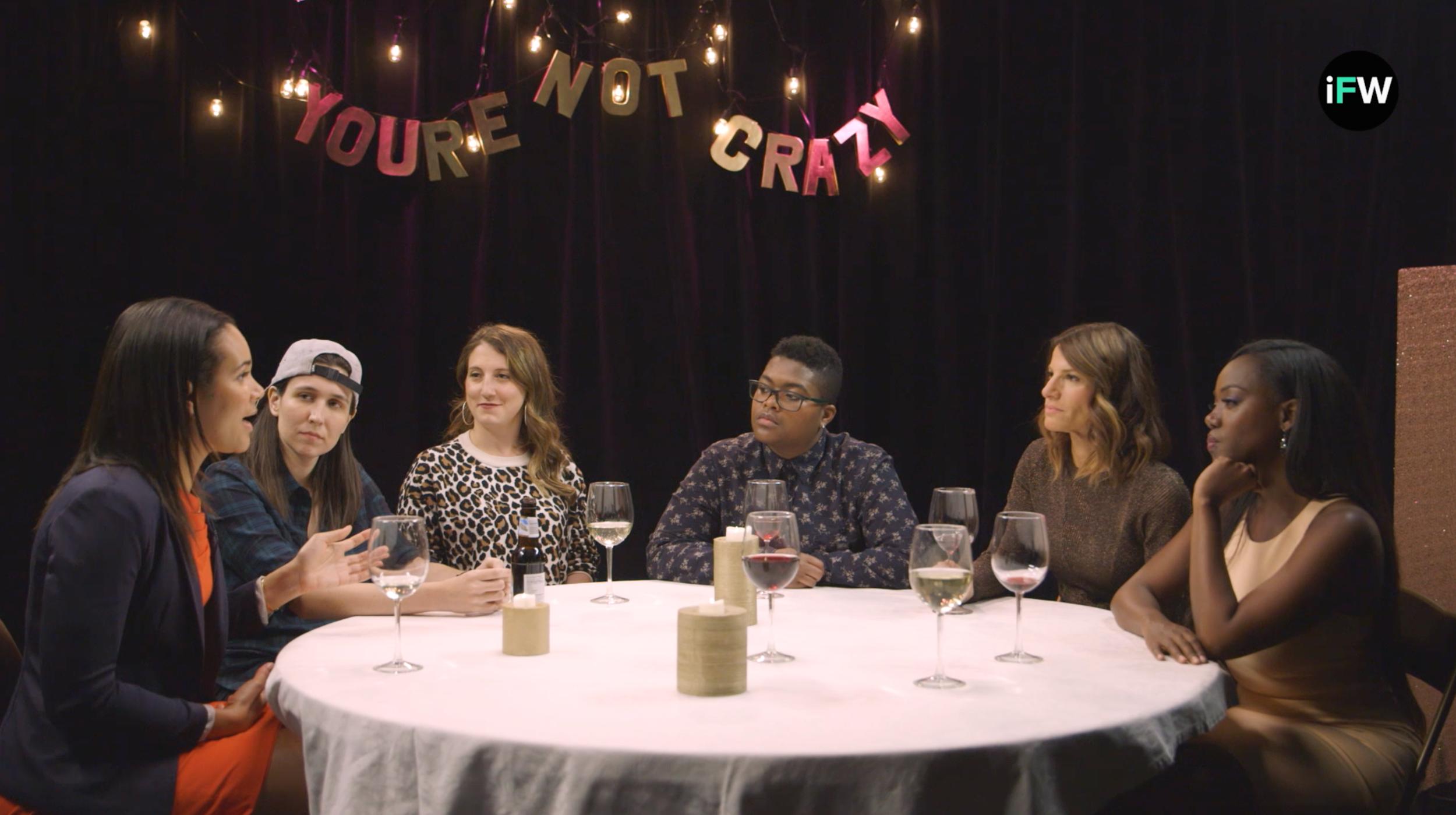 On the set of You're Not Crazy, Season Two (From left: Erica Duignan Minnihan, Ashley Gavin, Sara Armour, Sam Jay, Karen Cahn, Bea Arthur)