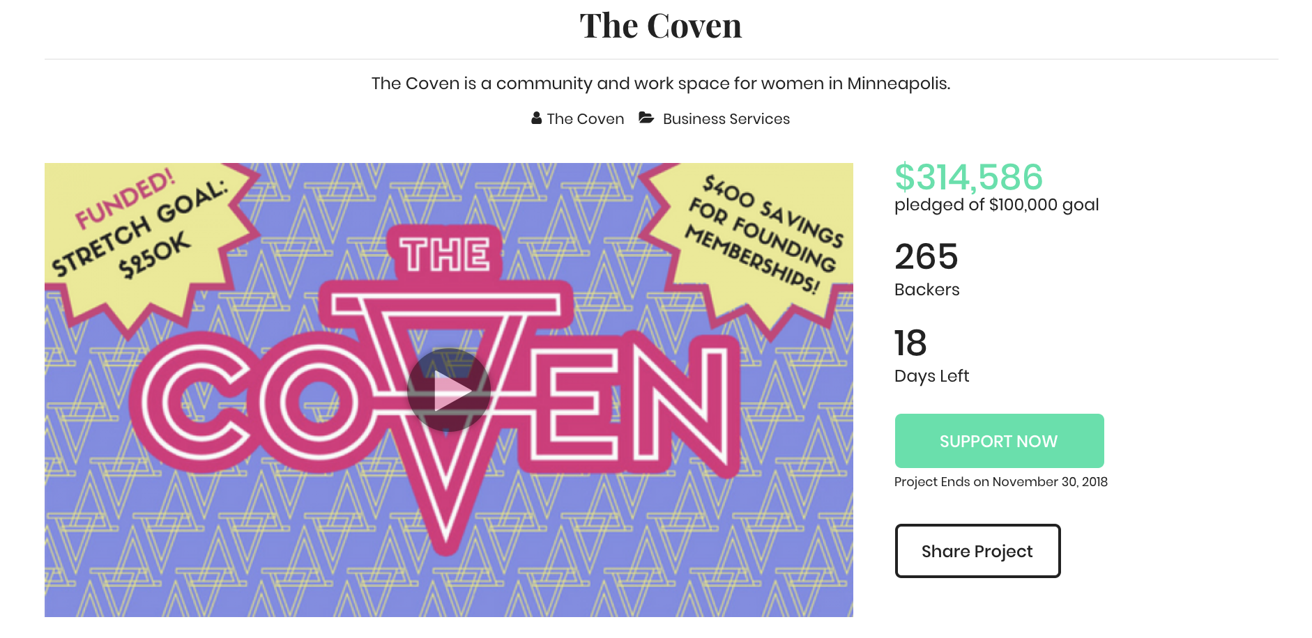 The Coven  is a co-working space for women and non-binary folks in Minneapolis.