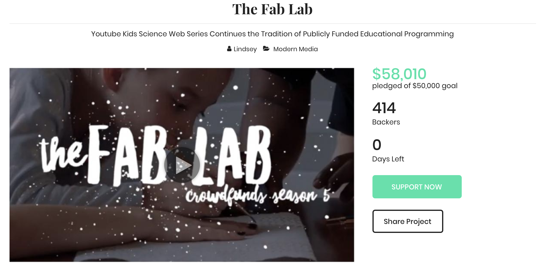 Portland-based YouTuber, Lindsey Murphy, is the creator of  The Fab Lab  - a digital series for kids interested in STEAM that takes the magic of everyday life and connects it to the scientific process.