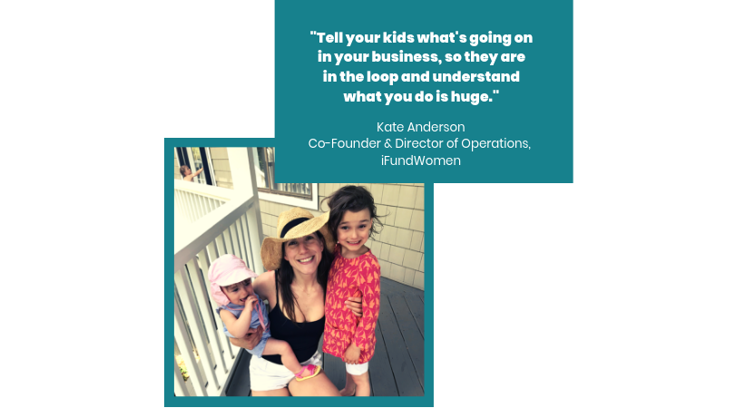 Kate Anderson, Co-Founder & Director of Operations,  iFundWomen , with her kids.